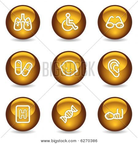 Medicine web icons set 2, gold glossy series