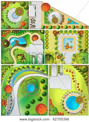 Colored Collections od  Landscape Plan with treetop symbols