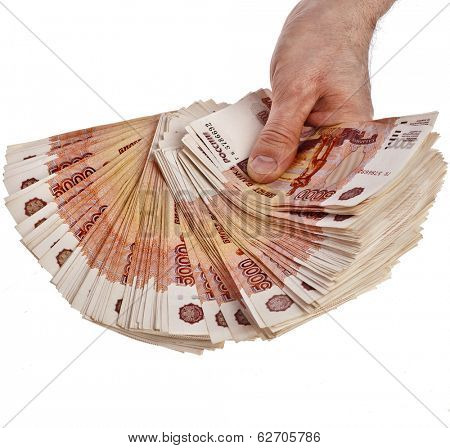 Fan of One Million Russian  Banknotes Rubles in your hand - isolated on white background