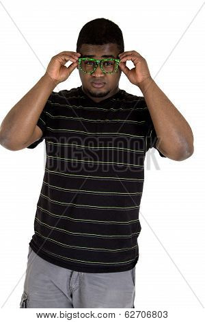 African American Male Model Wearing Nerdy Green Glasses
