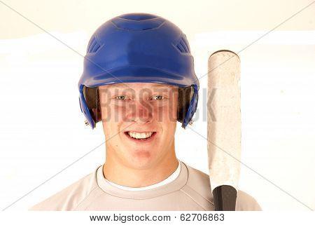 Baseball Player Portrait Smiling Holding Bat