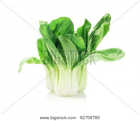 Green Fresh Chinese Cabbage On White Background