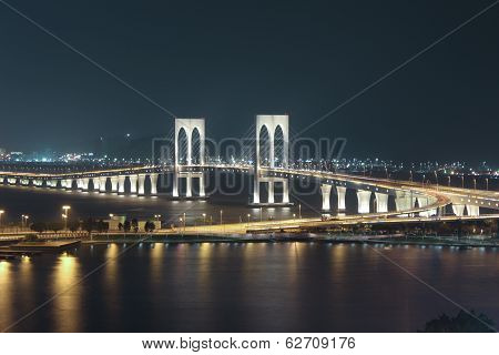 Sai Van Bridge At Night Macau