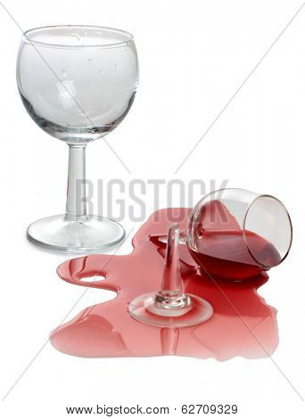 Color photo of broken glass and spilled wine