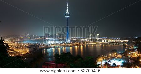 Panorama Of Night Macao With Macao Tower And Sai Van Bridge