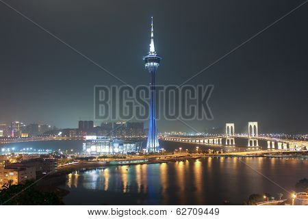 Macao Tower And Sai Van Bridge At Night Macau