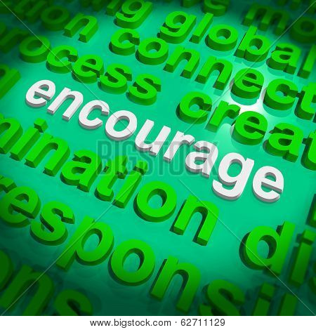 Encourage Word Cloud Shows Promote Boost Encouraged