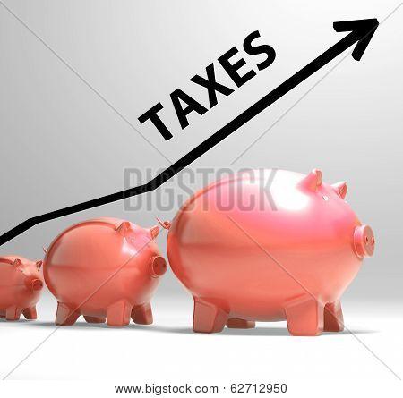 Taxes Arrow Shows Higher Taxation And Levies