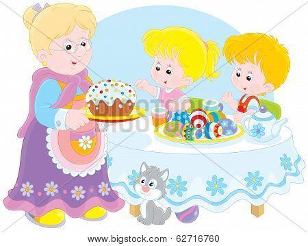 Granny and grandchildren celebrate Easter
