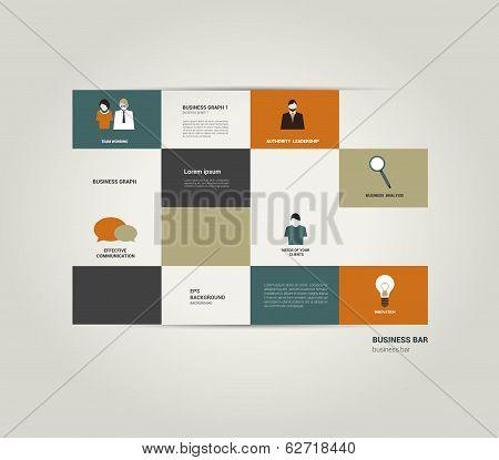Infographic flat bar. Simply editable sheet diagram. Vector colored rectangle scheme.