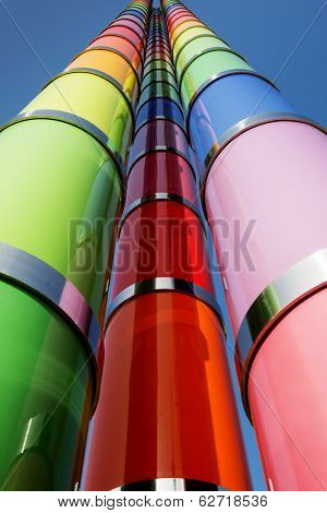 STUTTGART, GERMANY - MARCH 30, 2014: Multi-colored Stella near Museum