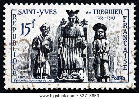 Postage Stamp France 1956 St. Yves De Treguier