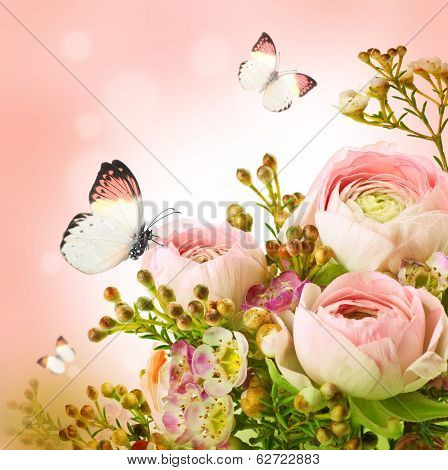 Gentle bouquet from pink roses and small flower