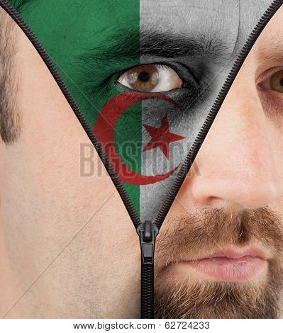 Unzipping Face To Flag Of Algeria