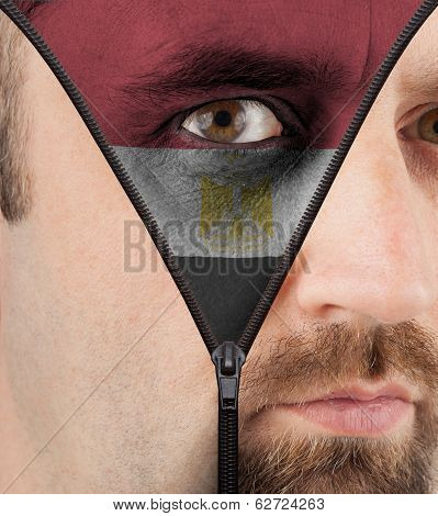Unzipping Face To Flag Of Egypt