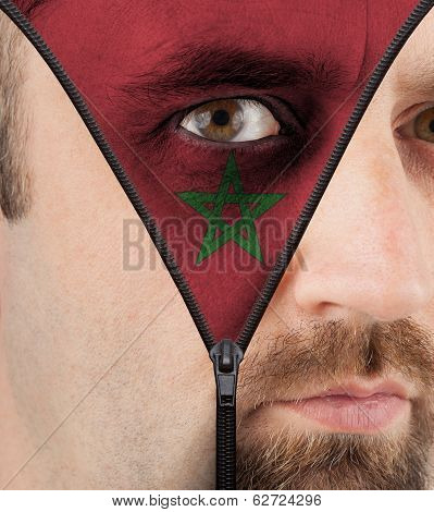 Unzipping Face To Flag Of Morocco
