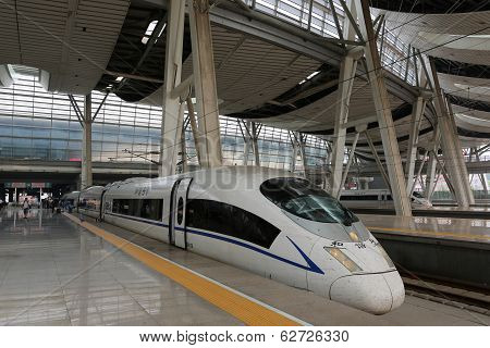 High Speed Train In Beijing Railway Station In China