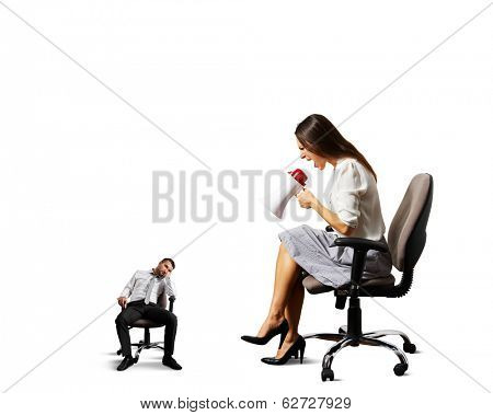 angry woman screaming at small lazy man. isolated on white background