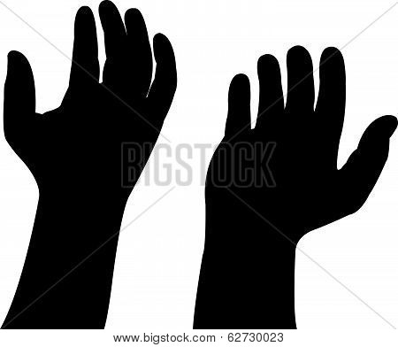 hands preying, silhouette vector