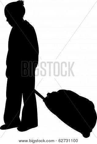 girl carrying luggage silhouette vector