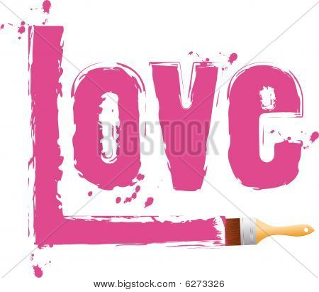 "Brush paint pink word ""love"". Vector illustration"