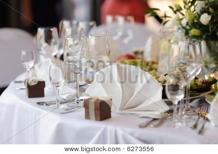 Table Set For A Festive Party Or Dinner