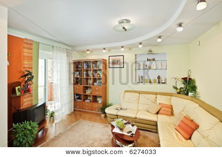 Drawing-room Interior With Beige Corner Leather Sofa