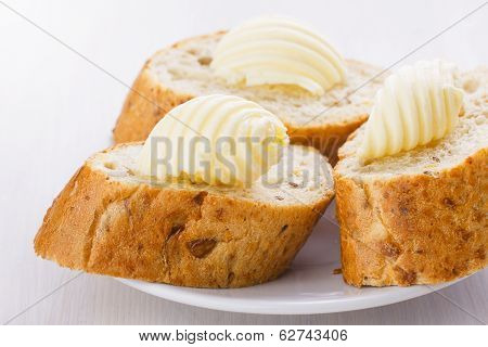 Butter On Bread Slices