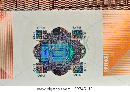 Hologram from fifty euro banknote