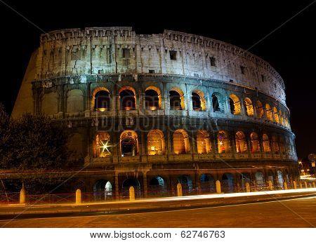 Colosseum At Night Illumination, Rome