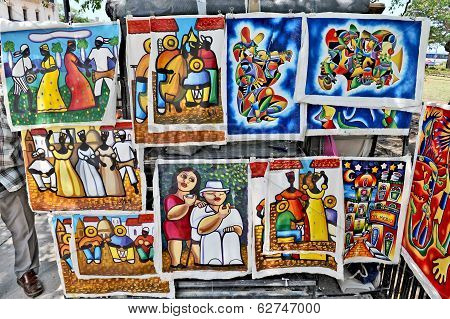 Paintings for sale in the main marketplace in Havana