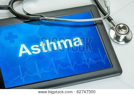 Tablet with the diagnosis asthma on the display