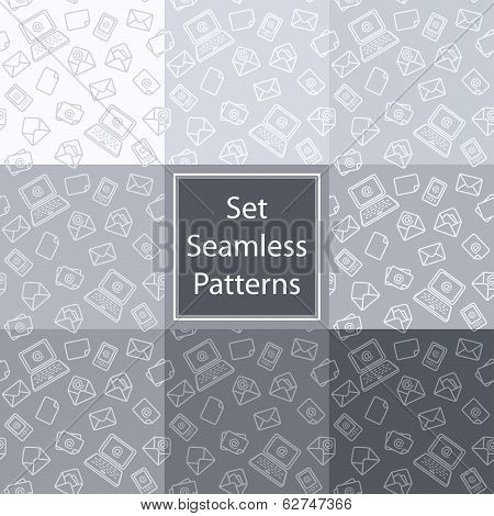 Set Seamless Pattern Email Grey.eps