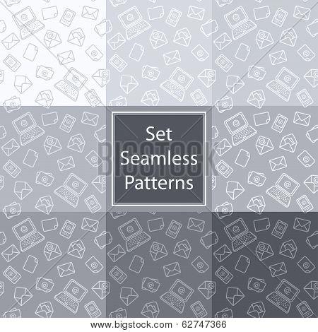 Set Seamless Pattern Email Grey.eps