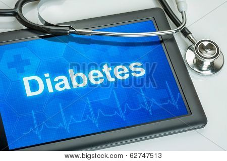 Tablet with the diagnosis diabetes on the display