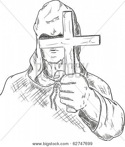 vector - hooded monk with a cross in his hand