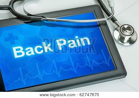 Tablet with the diagnosis back pain on the display
