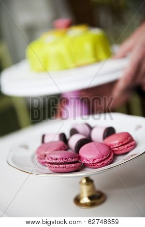 Group of Macaroons and cookies on a cakestand