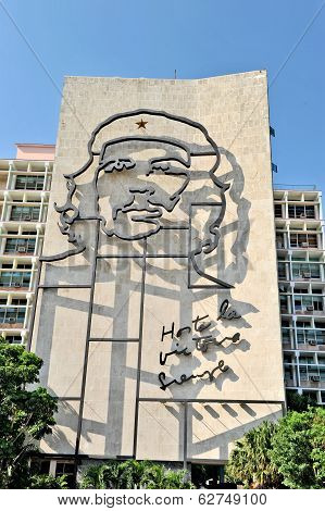 The portrait of Che Guevara in the Revolution Square