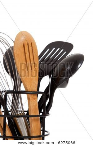 An Array Of Kitchen Utensils On White