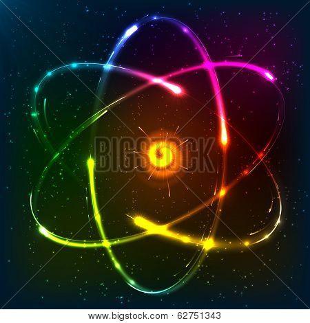 Shining neon atom model, vector illustration