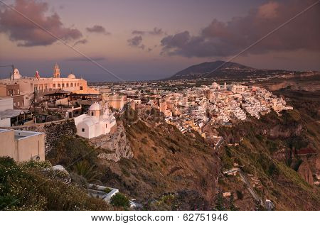 Sunset In Thira Of Santorini Island