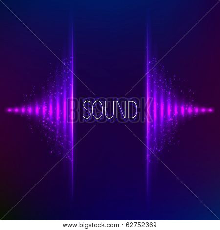 Violet neon stereo vector equalizer