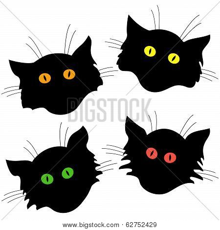 Four Cat Head Black Silhouettes