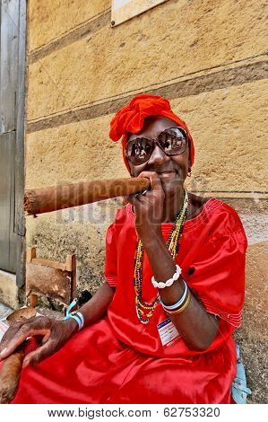 Old lady with huge cigar