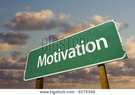 Motivation Green Road Sign