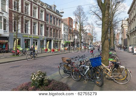 Streetview With Parked Bicycles In The Hague