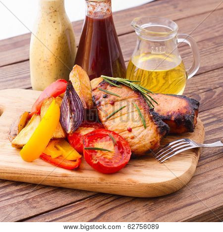 Food. Meat barbecue with vegetables