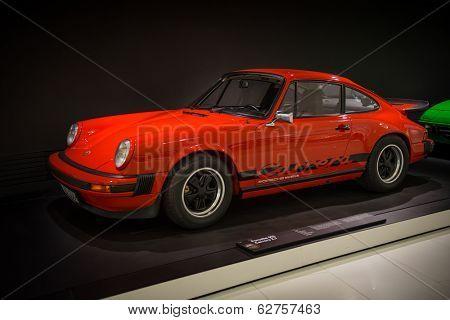 STUTTGART, GERMANY - APRIL, 2014: Porsche Museum. PORSHE 911 Carrera 2.7 (1975)