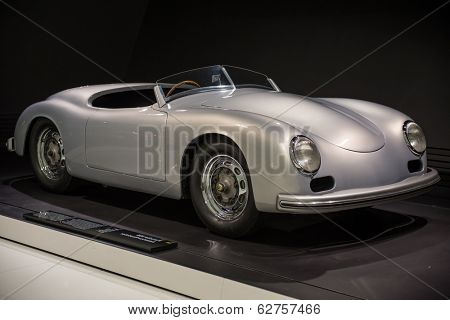 STUTTGART, GERMANY - APRIL, 2014: Porsche Museum. PORSHE 356 America Roadster (1953)